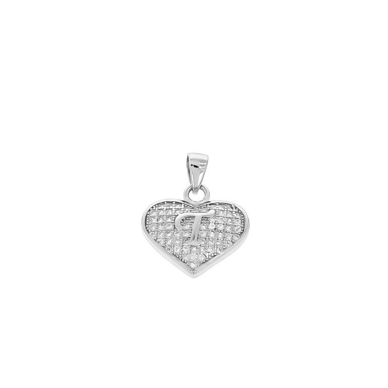 sterling silver pendant heart with initial T