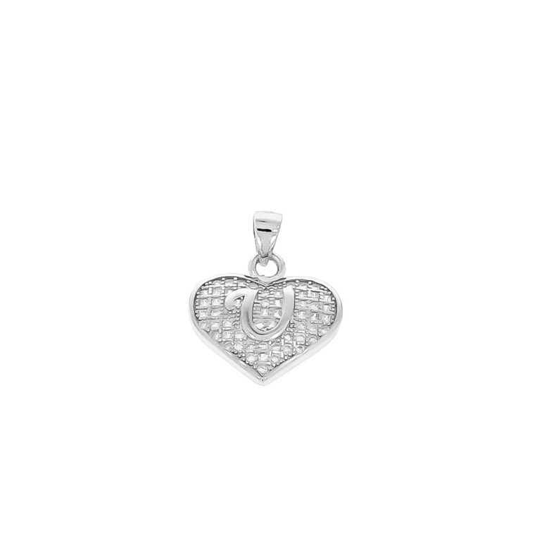 sterling silver pendant heart with initial U