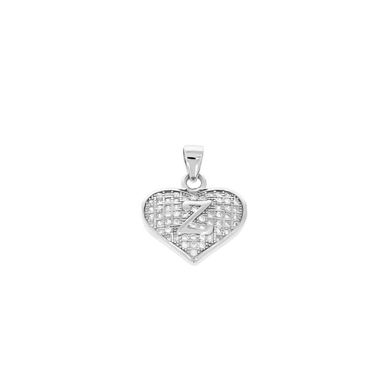 sterling silver pendant heart with initial Z