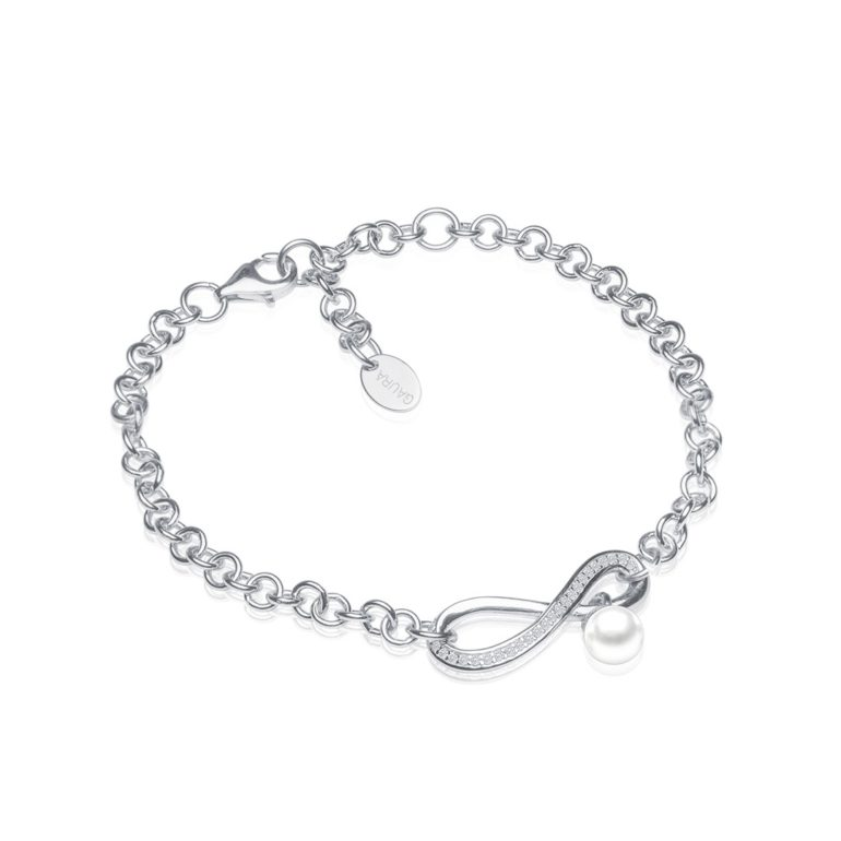 sterling silver bracelet with cultivated pearl and cubic zirconia