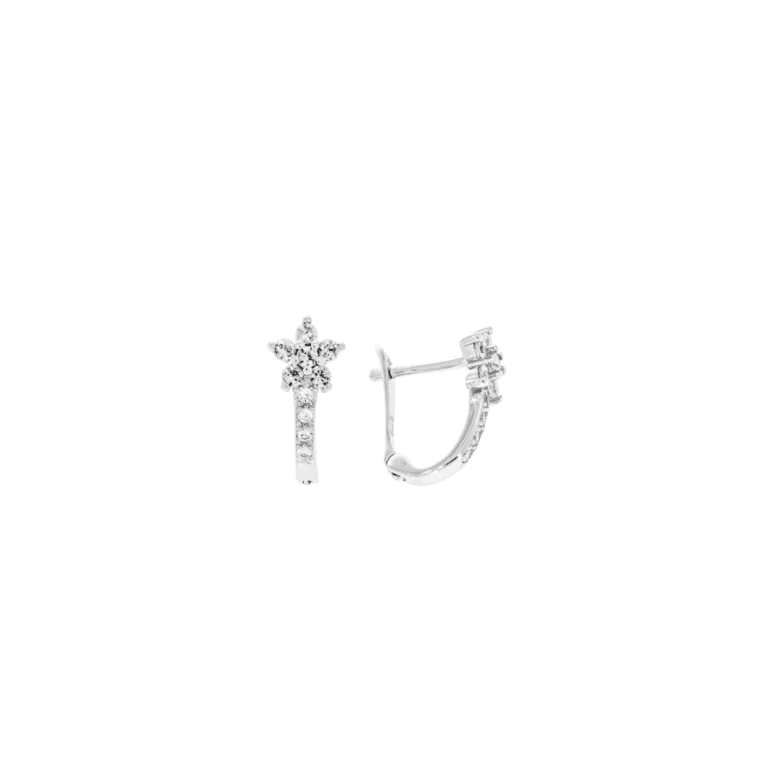 sterling silver earrings with white cubic zirconia - flower