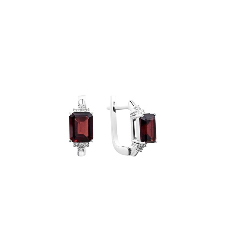 sterling silver earrings with garnet and fianits