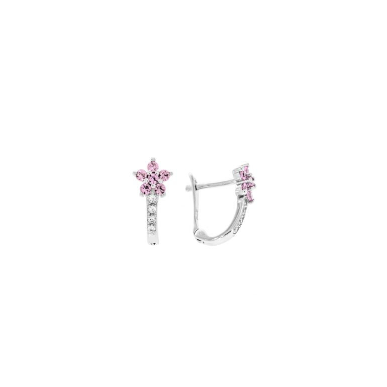 sterling silver earrings with pink cubic zirconia - flower