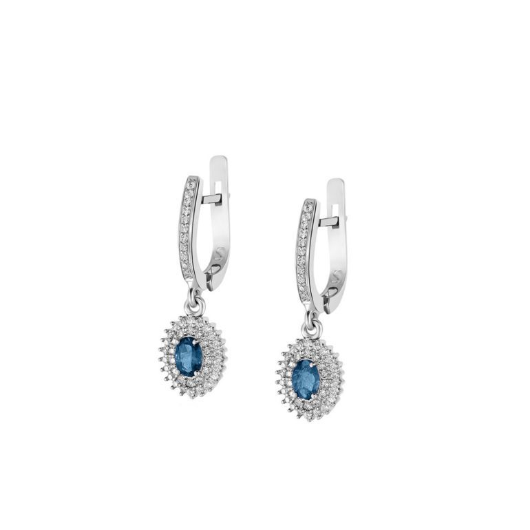 sterling silver earrings with topaz and fianits