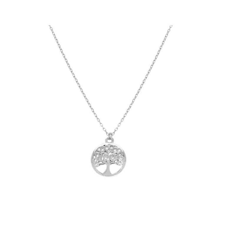 sterling silver necklace with cubic zirconia - tree of life
