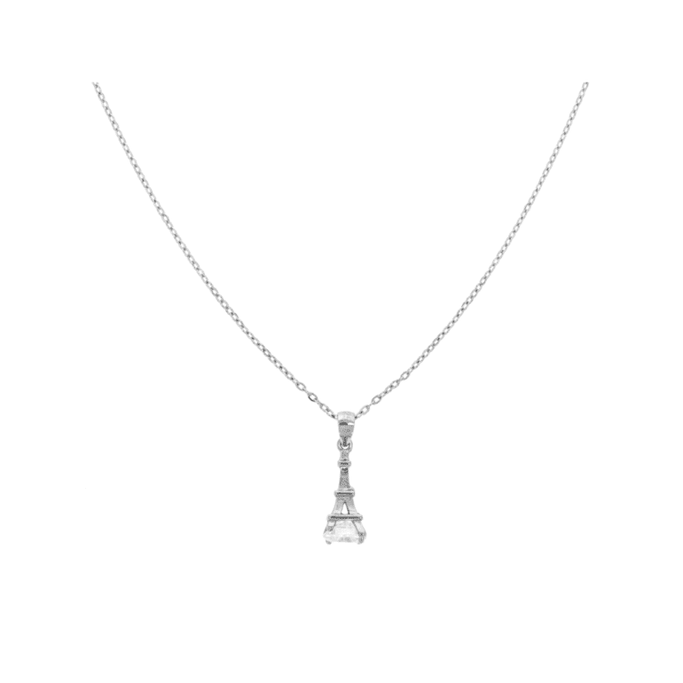 sterling silver necklace with cubic zirconia - Eiffel tower