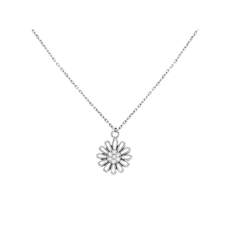 sterling silver necklace with cubic zirconia - flower