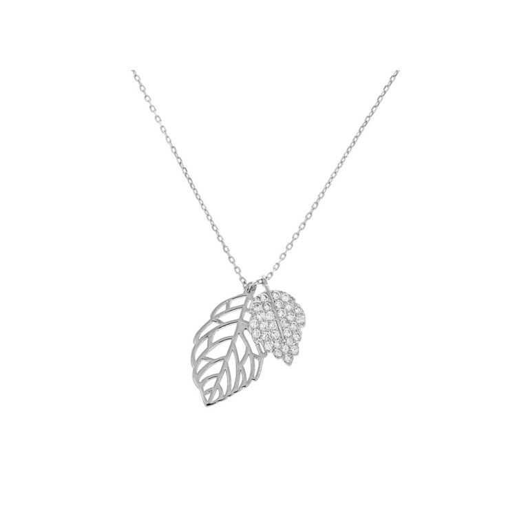 sterling silver necklace with cubic zirconia - leaf