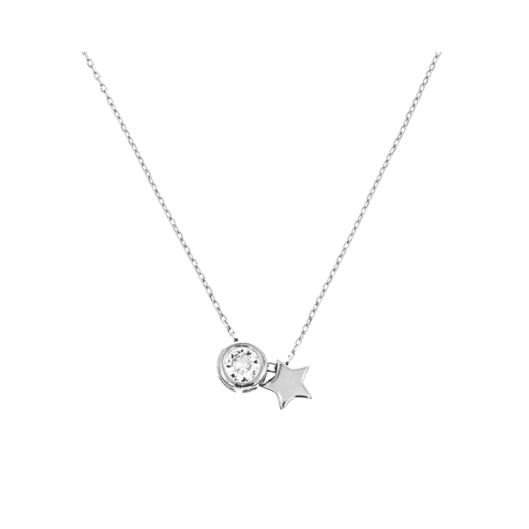 sterling silver necklace with cubic zirconia - star