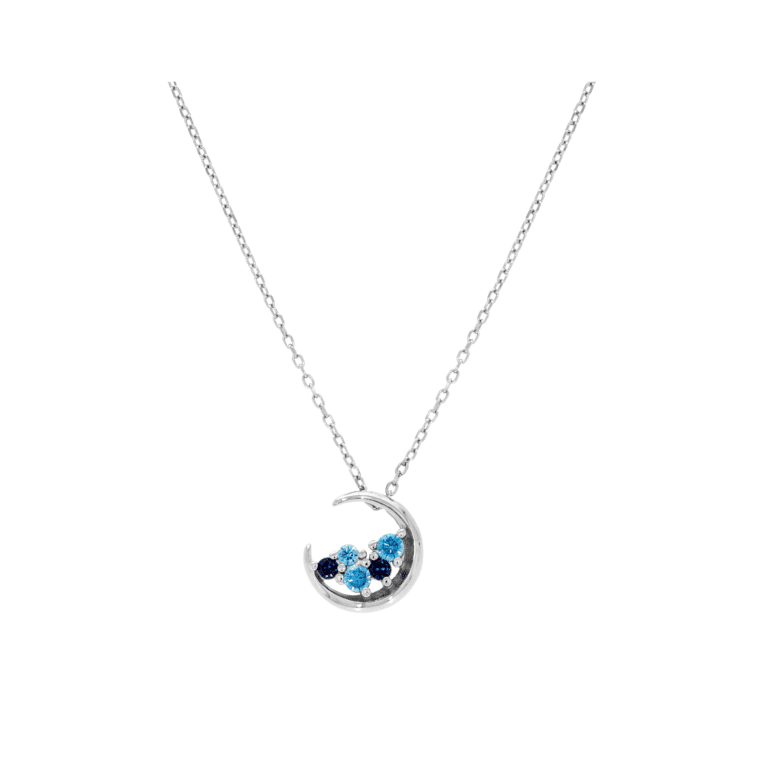 sterling silver necklace with cubic zirconia - the moon