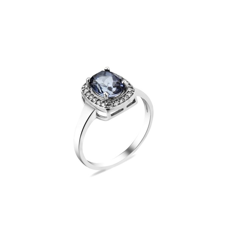 sterling silver ring with London blue topaz and fianits